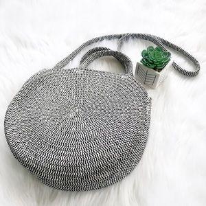 AngelBellas Bags - Two Tone Round Raffia Crossbody Bag